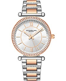 Original Women's Crystal Studded Rose Case and Bracelet, Silver Dial 36mm Watch