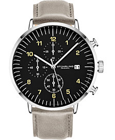 Stuhrling Original Men's Leather Strap, Chrono Watch