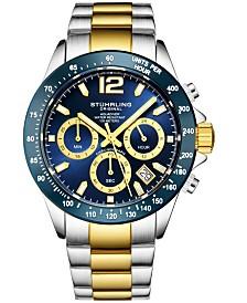 Stuhrling Original Men's Chrono, Dark Blue Dial, Blue Bezel/Silver Case, Gold/Silver Bracelet Watch