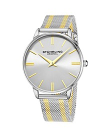 Men's Gold - Silver Tone Mesh Stainless Steel Bracelet Watch 42mm
