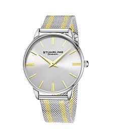 Stuhrling Original Men's Silver Dial, Gold Accents, Gold/Silver Mesh Bracelet Watch