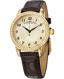 Stuhrling Original Classy Ladies Ultra Slim Quartz Watch, Gold Tone Case on Brown Alligator Embossed Genuine Leather Strap, Crystals on Gold Tone Bezel, Gold Tone Dial With Crystal and Black Accents