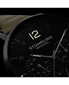 Stuhrling Original Men's Quartz Watch, Silver Case, Black Dial, Beige Genuine Leather Strap