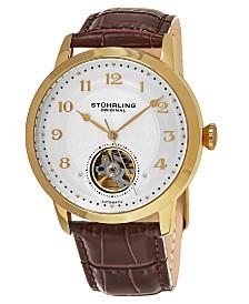Stuhrling Original Men's Automatic Gold Tone Case, Open Heart Brown Leather Strap Watch