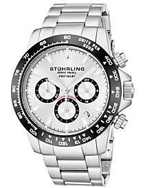 Original Men's Quartz Chronograph Date Watch, Silver Case, Silver Dial With Black Bezel, Stainless Steel Bracelet