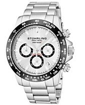 ad811581a Stuhrling Original Men's Quartz Chronograph Date Watch, Silver Case, Silver  Dial With Black Bezel