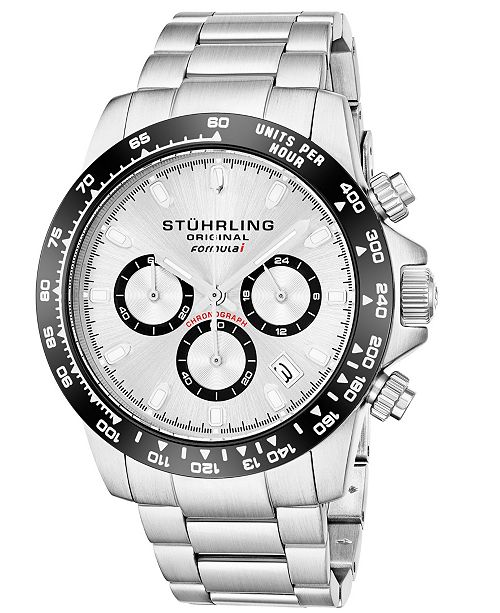 Stuhrling Original Men's Quartz Chronograph Date Watch, Silver Case, Silver Dial With Black Bezel, Stainless Steel Bracelet