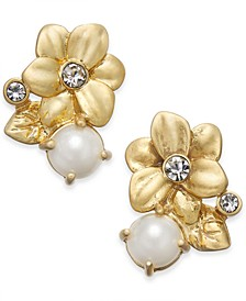 Gold-Tone Imitation Pearl Flower Stud Earrings