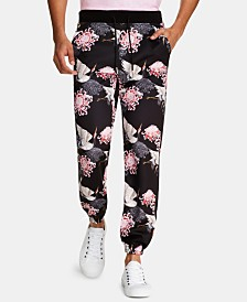 Tallia Men's Tapered Stretch Floral Track Pants