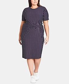 Trendy Plus Size Striped Twist-Front Dress