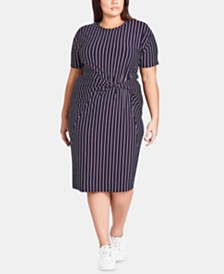 City Chic Trendy Plus Size Striped Twist-Front Dress