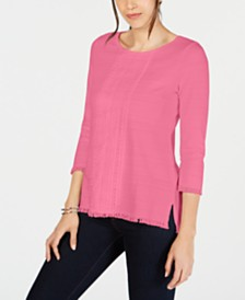 Charter Club Cotton Lace-Trim Top, Created for Macy's