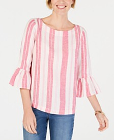 Charter Club Petite Linen Striped Top, Created for Macy's