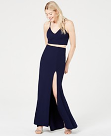 B Darlin Juniors' 2-Pc. Lace-Back Slit Gown