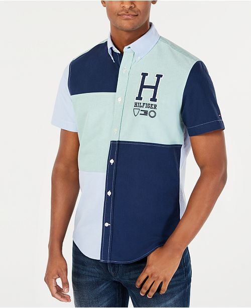 Tommy Hilfiger Men's Big & Tall Colorblocked Graphic Shirt, Created for Macy's