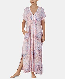 Ellen Tracy Printed Embroidered Trim Knit Caftan