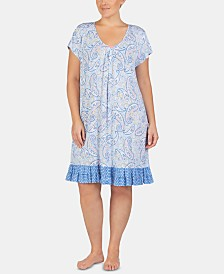 Ellen Tracy Plus Size Printed Ruffled Hem Knit Chemise Nightgown