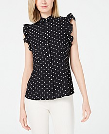 Dot-Print Ruffle-Sleeve Top