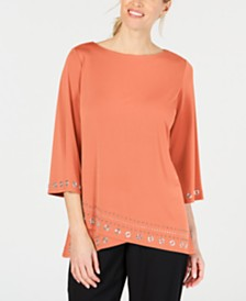 JM Collection Embellished Boat-Neck Top, Created For Macy's