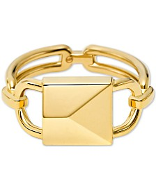Michael Kors Gold-Tone Sterling Silver Padlock Ring