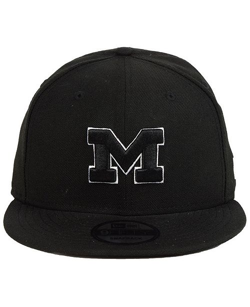 official photos c1345 6718a ... New Era Michigan Wolverines Black White Fashion 9FIFTY Snapback Cap ...