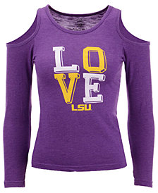 Wes & Willy LSU Tigers Cold Shoulder Long Sleeve T-Shirt, Girls (4-7)