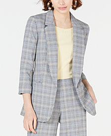 Bar III Plaid Open-Front Jacket, Created for Macy's