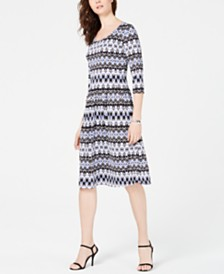 NY Collection Petite 3/4-Sleeve Printed Dress