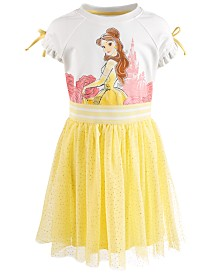 Disney Little Girls Belle Glitter-Mesh Dress