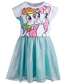 Little Girls Graphic-Print Mesh Dress