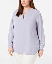 150ff57fada Anne Klein Plus Size Split-Neck Top