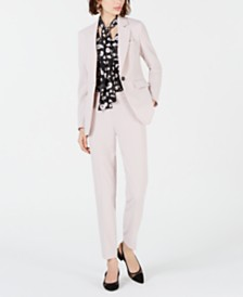 Bar III One-Button Jacket, Printed Long Sleeve Blouse & Straight-Leg Pants