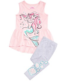 Disney Little Girls 2-Pc. Ariel Tunic & Leggings Set