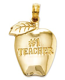 14k Gold Charm, Number 1 Teacher Apple Charm
