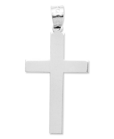 14k White Gold Charm, Polished Cross Charm