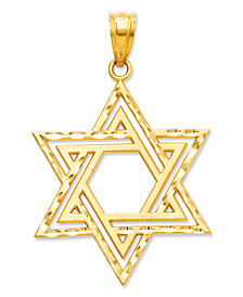 14k Gold Charm, Cut-Out Star of David Charm