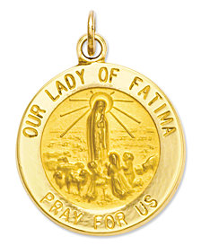 14k Gold Charm, Our Lady of Fatima Medal Charm