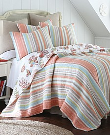 Home Brighton Coral Twin Quilt Set