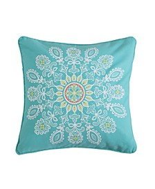 Home Laurel Coral Teal Geo Pillow