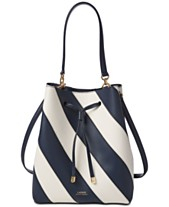 ee5399f7586f Lauren Ralph Lauren Dryden Debby Leather Diagonal Stripe Drawstring Bag