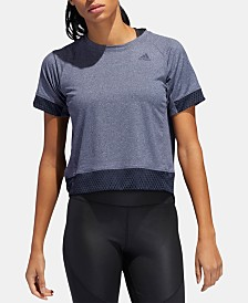 adidas Relaxed Mesh-Trimmed Cropped Training T-Shirt