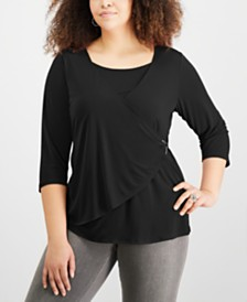 NY Collection Plus Size Wrap-Front Top