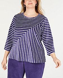 Alfred Dunner Plus Size Comfortable Situations Velour Striped Top