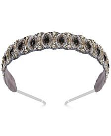Deepa Gunmetal-Tone Crystal & Imitation Pearl Beaded Headband