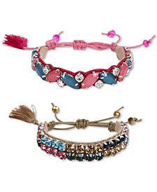 Deepa Silver-Tone 2-Pc. Set Crystal & Stone Friendship Slider Bracelets