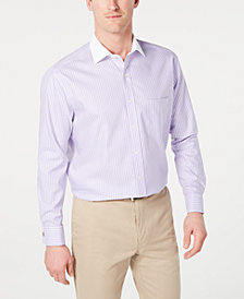Tasso Elba Men's Slim-Fit Non-Iron Twill Bar Stripe French Cuff Dress Shirt, Created for Macy's