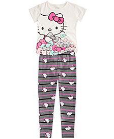 Hello Kitty Toddler & Little Girls Graphic-Print T-Shirt & Striped Leggings