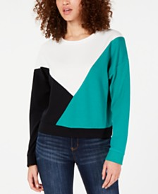 Hippie Rose Juniors' Colorblock Quarter-Zip Sweatshirt