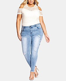 Trendy Plus Size Embellished Ripped Skinny Jeans