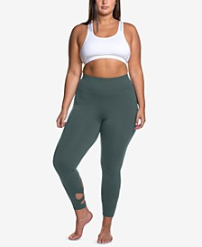 Curves Plus Size Wraparound-Hem Performance Leggings